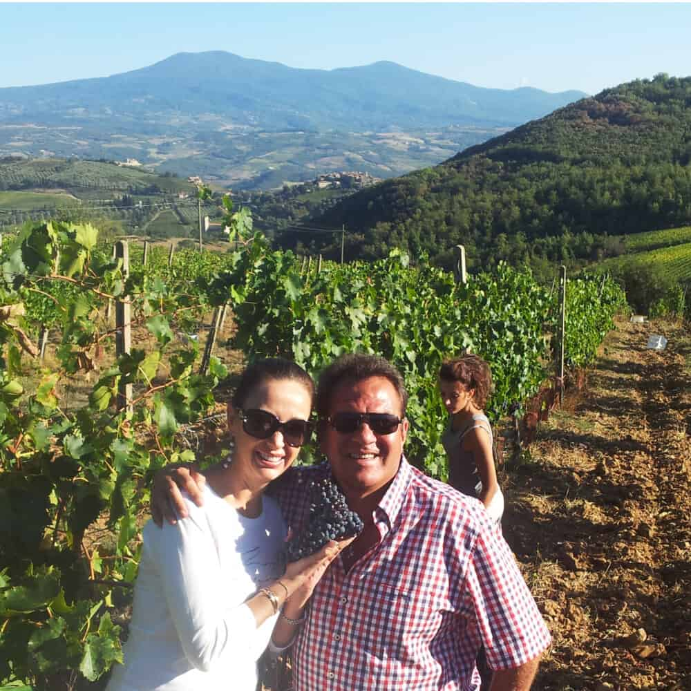 guests in a brunello di Montalcino vineyard during harvest