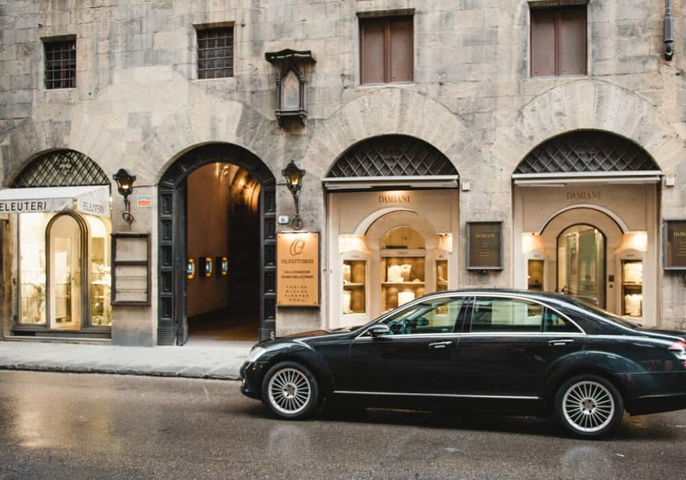 luxury car in Tuscany